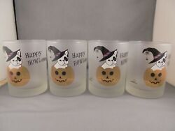 4 Culver Happy Halloween Bulldog Jack O Lantern Old Fashioned Tumblers Glasses