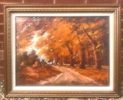 Vintage Mid-century Framed Oil Painting - Andldquoautumn In Vermontandrdquo By Lee Simpson