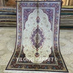 Yilong 5and039x8and039 Hand Knotted Silk Carpet Vintage Family Room Area Rugs Z244a