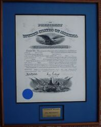 President Woodrow Wilson Signed Military Commission 12/31/1914 Fine Unfolded