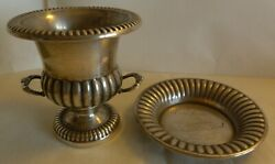 Lot Of Sterling Silver Open Urn Plus A Dish / Coaster By Hallmark - 89 Grams