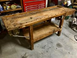 Early Antique Wood Industrial Carpenters Workbench Table W/ Vise Kitchen Island