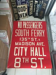 Ny Nyc Bus Roll Sign Manhattan Madison South Ferry City Hall 8 Greenwich Village