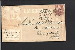 Springfield,illinois 1868 Full Front Advt. I.m. Singer Andco. Sewing Machines.