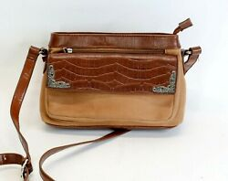 Coldwater Creek Saddle Soft Crossbody Bag Purse Wallet Metal Accents Vegan $22.50