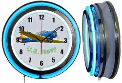 U.s. Navy Plane Wwii 19 Blue Double Neon Clock Airplane Aircraft Hanger