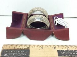 Clover Chased Etched Antique Sterling Silver Napkin Rings Hallmarked Birmingham