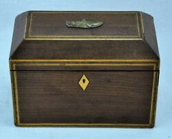 Antique Wooden Tea Caddy With Two Compartments And Bone Accents.5.bimk/181121