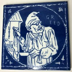 Rare 1875 Mintons China Works Tile Rustic Humours Greed Ebenezer Scrooge 6