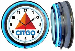 Citgo Gasoline Oil 19 Double Neon Clock Blue Neon Man Cave Garage Gas Station