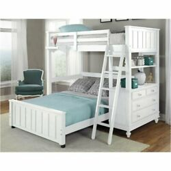 Rosebery Kids Twin Loft With Full Lower Bed And Shelf In White