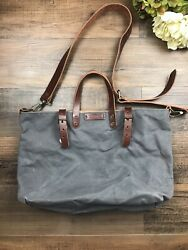 Natural Heritage Canvas and Leather Tote Bag Handbag Gray Tan $33.00