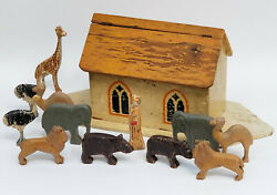 Large 19c. Antique Wood Toy Noahand039s Ark Toy With 12 Figures