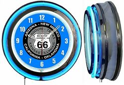 Route 66 With State Names 19 Double Neon Clock Blue Neon Man Cave Garage Bar V2