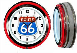 Route 66 Red White Blue 19 Red Double Neon Clock Man Cave Garage Shop Chrome