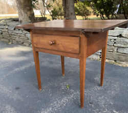 Antique Work Table W Drawer Early American Walnut For Country Kitchen Circa 1800