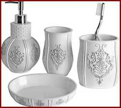 Vintage White Bathroom Accessories Set 4 Pc Features Soap Dispenser Toothbrush H