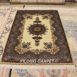 Yilong 4'x6' Hand Knotted Silk Area Rug Home Interior Living Room Carpet Q28a