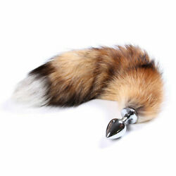 Small anal-butt stainless steel plug artificial fox tail role playing cosplay US