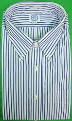 The Andover Shop Blue And White Bengal Stripe Bd Dress Shirt Sz 18-33 New W/ Tag