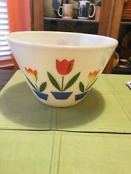 """Fire King Tulip Large Bowl Oven Ware Mixing Milk Glass 9"""" Across Estate"""
