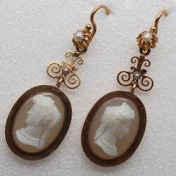 Antique Victorian Earrings Carved Cameos Women 18k Gold Pearls French 6292