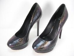 New Brian Atwood Ferguson Snake Skin Platforms Heels Pumps Shoes Womenand039s 8.5
