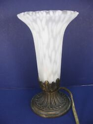 Vintage Andrea By Sadek Frosted Glass Floral Trumpet Table Night Light Lamp