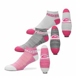 Green Bay Packers Rmc Grid Heathered Pink 3 Pack No Show Socks Fbf Size Large