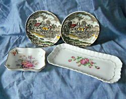 English Pottery Four Pieces Royal Crown Derby, Adderley And Myott Dishes And Trays