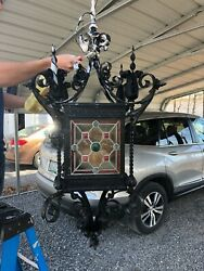 Wrought Iron Chandelier Lantern With Stained Glass