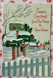 Vintage Mid Century Glittered Christmas Card Rural Mailboxes Picket Fence Snow