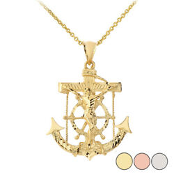 Solid Gold Or 925 Silver Anchor Jesus Pendant Necklace