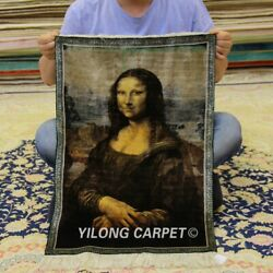 YILONG 1.5'x2' The Mona Lisa Handknotted Silk Tapestry Pictorial Carpet 315H