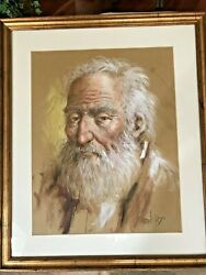 Famous Rare Framed Diego Portrait Painting - Old Man With A Beard