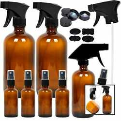 Youngever 7 Amber Glass Spray Bottles 2 Pack 16 Oz Empty 1 8 Bottle And 4 For Esse
