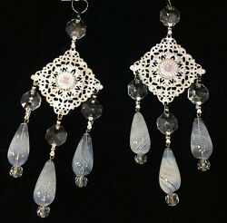 Prisms Victorian White Filigree Multi Drop With Mouth Blown Art Glass Nos Lot 2