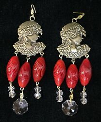 Prisms Victorian Maiden Face With Blown Art Glass Ruby Red Swirl Drops Nos Lot 2
