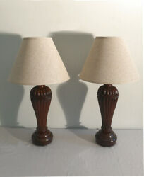 Pr Of Flute Carved Padouk Wood Lamps India C1900 Hand Carved From Single Blocks