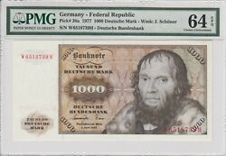 Germany 1000 Deutsche Mark 1977 Pick 36a Snw6518739h - Pmg 64 Choice Unc Epq