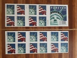 Usps Forever Stamps Lady Liberty And U.s. Flag Booklet Of 20