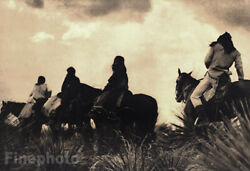 1900/72 Vintage Edward Curtis Native American Indian Apache On Horses Art 12x16
