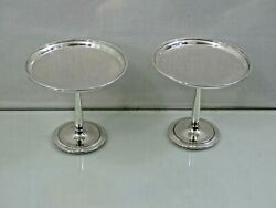 Fine Pair Of And Co Sterling Silver Compotes / Candy Dishes Art Deco Style