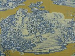 22y Scalamandre Four Seasons Toile Print Gold Blue English Country Msrp236/y