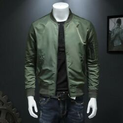 Spring Menand039s Bomber Baseball Jacket Long Sleeve Stand Collar Slim Fit Outdoor L