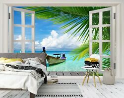 3d Window Boat 283na Business Wallpaper Wall Mural Self-adhesive Commerce Amy