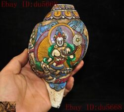 Old Tibetan Buddhism Conch Painted Carved Tara Kwan-yin Conch Trumpet Horn Shell