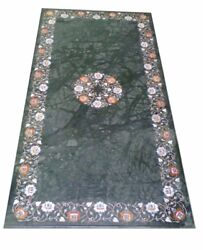 60 X 36 Green Marble Dining Inlay Floral Work Semi Precious Stones Work Art