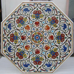48 Marble Center Coffee Table Top Marquetry Floral Inlay Art Home Decor