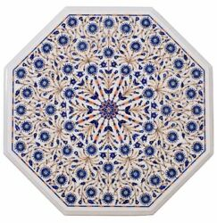 36 Marble Coffee Table Top Marquetry Lapis Lazuli Inlay Home Decor